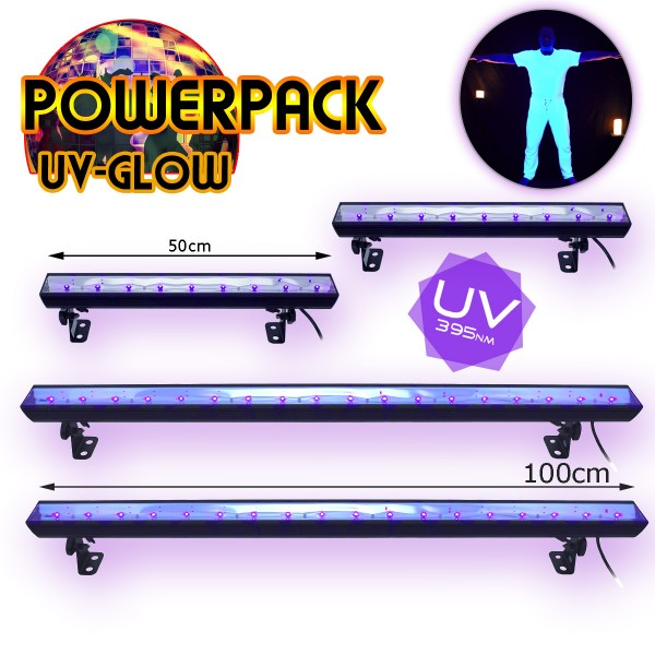 "PARTYRAUM POWERPACK ""UV GLOW"" - 4 High Power UV LED Bars - Ideal für Räume bis 450m²"