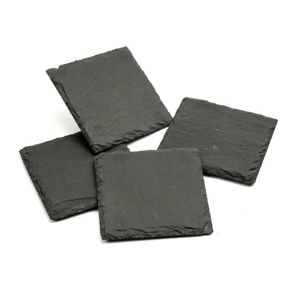 Untersetzer SCHIEFER - Getränkeuntersetzer - quadratisch - L: 10cm - schwarz - 4er Set