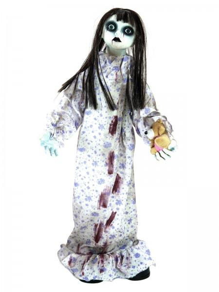 Animierte Psycho-Puppe, stehend 76cm, Mikrofon-Sensor, nervöses Hin&Her, Stöhngeräusche - Grusel pur
