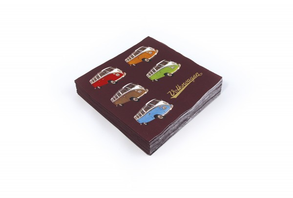 """VW Collection Serviette """"VW T1 COLORED SAMBA"""" - 20er Pack - 16,5x16,5cm - 100% recycling"""