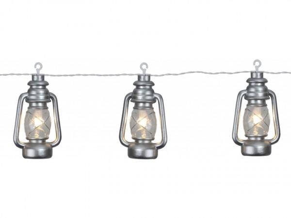 Partylichterkette | silberne Laternen | LED | Outdoor | 2,80m | 8 x Warmweiß | mit Haken