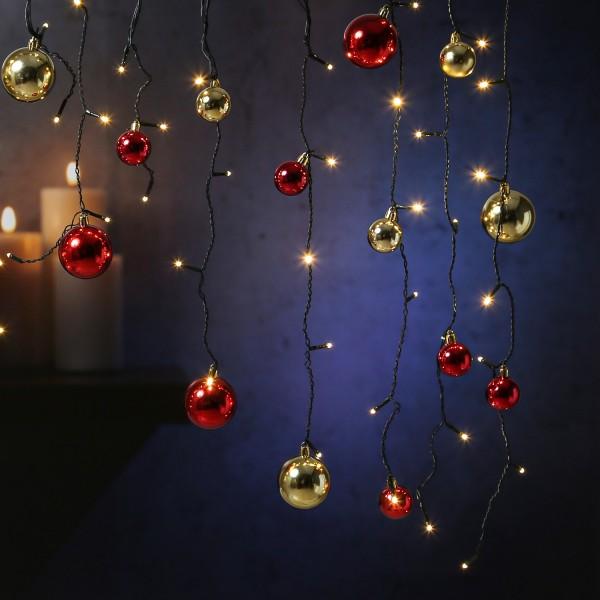 LED Lichtervorhang - mit 30 Weihnachtskugeln - 70 warmweiße LED - L: 1,30m - Trafo - Außen - schwarz