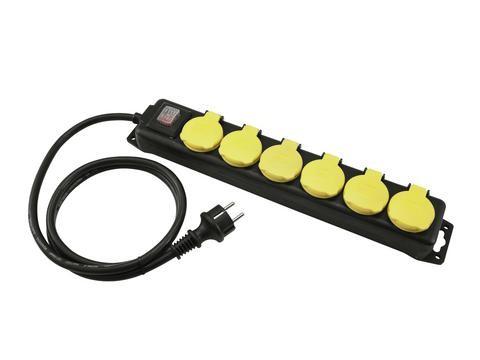 Stromkabel / Verlängerung | 6-Fach Verteilersteckdose | Schutzkontakt | Outdoor| 3x1,5mm² - 3,0m