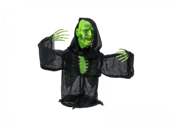 Halbierter grüner Zombie - Halloween Figur 73cm - Lichteffekt in den Augen - gruselige Dekoration