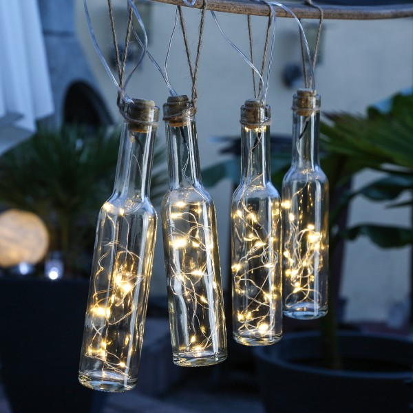 LED Solar Lichterkette FLASCHEN - 4 Flaschen - je 12 warmweiße LED - L: 1,35m - transparent