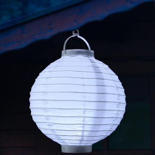LED Lampion FESTIVAL - kaltweiße LED - D: 30cm - Montagehaken - weiß