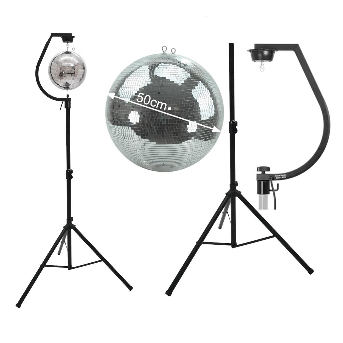 Spiegelkugel SET 50cm PROFI Kugel mit schwarzer Stativhalterung - inkl. Motor