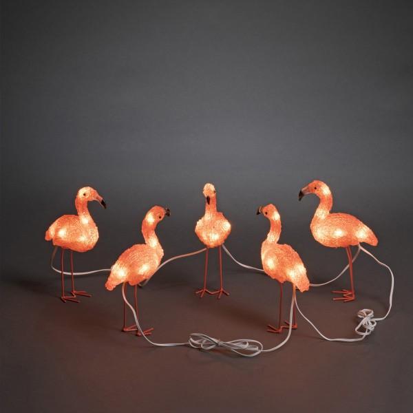 LED Acryl Flamingos - 40 bernsteinfarbene LED - 24V Außentrafo - weißes Kabel - L: 4m