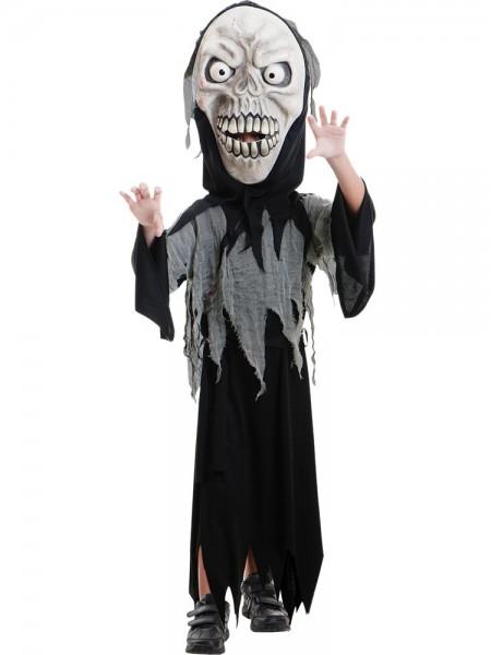 Halloween Kostüm Schreckgespenst - XXL Maske + Umhang - für Kinder von 8-10 Jahre