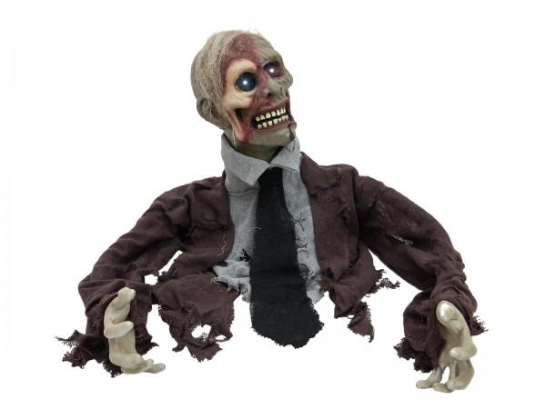 Deathcrawler - Bewegter Zombie - 40cm Halloween Figur - Bewegung, Lichteffekte, Geräusche