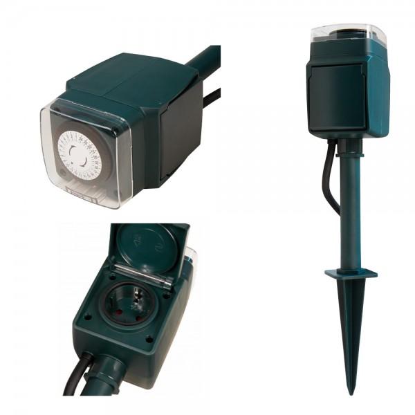 Gartensteckdose mit mechanischer Tages Zeitschaltuhr (24h, 30min Abstände, max 3680W) - mit Erdspieß