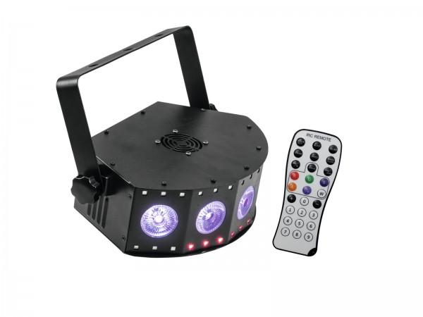 4in1-LED-Effektscheinwerfer mit RGB+UV-LEDs, dynamischen Farbeffekten und Stroboskop