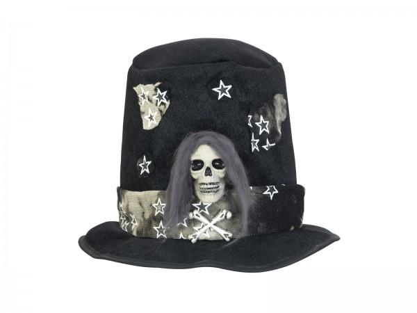Zylinder mit Totenkopf - schwarz - Halloween oder Faschings Kostüm - Totenschädel Applikation