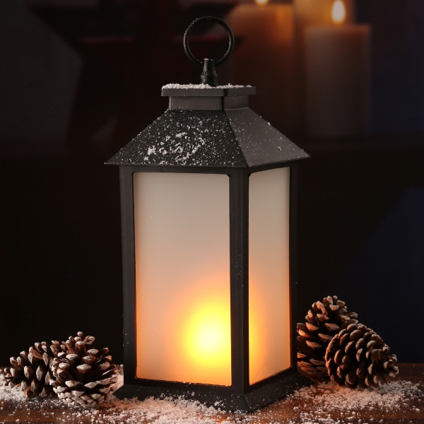 LED Laterne - mit Flammeneffekt - flackernde LED - H: 33cm - Batteriebetrieb - schwarz