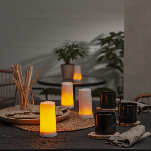 LED Windlicht Kerze DINER START - bewegliche LED Flamme - H: 13cm - wiederaufladbar - USB - 5teilig