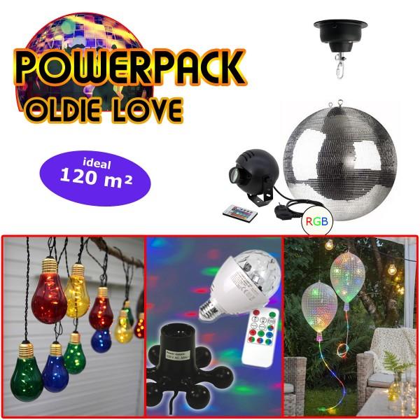 """PARTYRAUM POWERPACK """"OLDIE LOVE"""" - Komplett-Oldie-Party Kit - 120m²"""