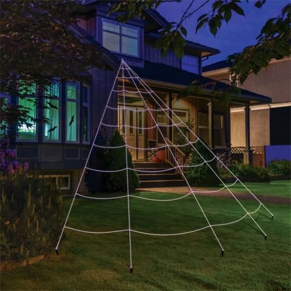 Riesen Spinnennetz für Garten - 7 x 5,5m - Grusel Halloween Dekoration - inkl. 5 Erdanker - Spinnweben
