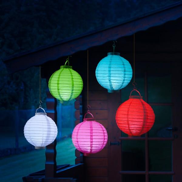 LED Lampion FESTIVAL - kaltweiße LED - D: 20cm - Montagehaken - 5er Set bunt