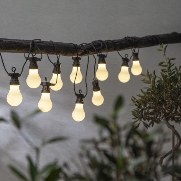 "LED Lichterkette ""Circus"" - 10 opal weiße Birnen - warmweiße LED - 4,05m - inkl. Trafo - outdoor"