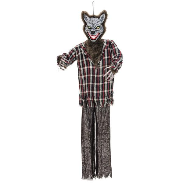 Wolfsmensch Halloween Figur - rot blinkende Augen und Geräusche, 160x50x12cm - Geräuschsensor