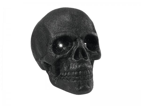 Schwarzer Totenkopf - Halloween-Dekoration - 35x35cm mit LED Farbwechsel in den Augen