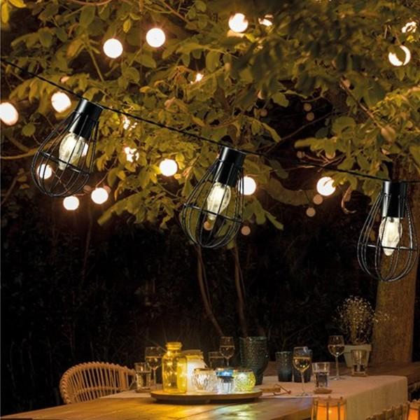 LED Solar Gitter Lichterkette INDUSTRIAL - 8 warmweiße Lampen - L: 1,5m - schwarz