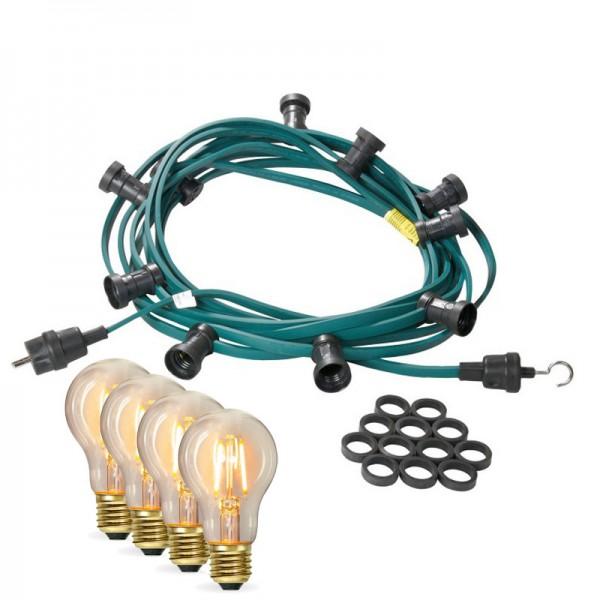 Illu-/Partylichterkette 10m | Außenlichterkette | Made in Germany | 20 x Edison LED Filamentlampen