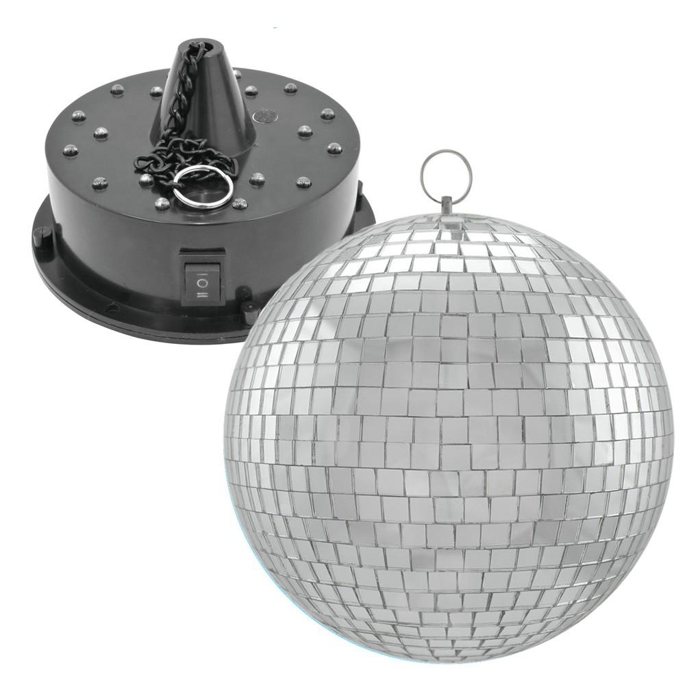 Spiegelkugel SET - RGBW-20 - 20cm Spiegelkugel und Batteriemotor mit LED Farbwechsler