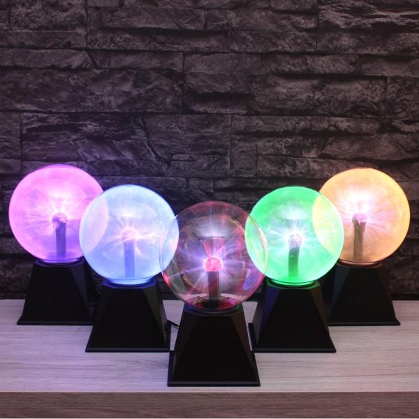 Plasmakugel – zuckend, orangene Blitz-Show – Automatikbetrieb oder Musiksteuerung - 15cm Kugel