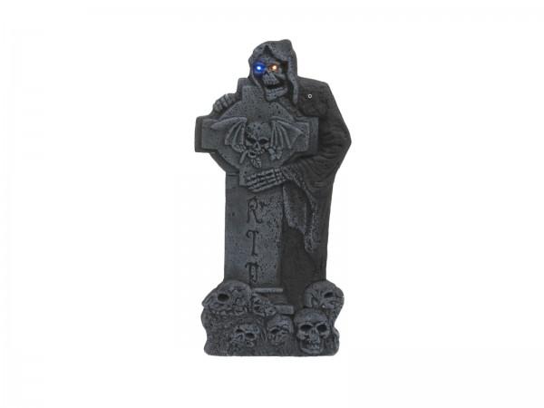 Kreuzgrabstein mit LED Lichteffekten - 59,5cm Halloween Dekoration - Für Innen